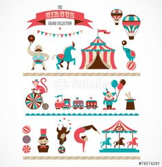 Vektor: vintage huge circus collection with carnival, fun fair, vector