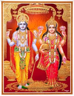 "☀ SHRI LAKSHMI NARAYANA ॐ ☀ Artist: Yogendra Rastogi Sri Brahma said: ""The sun illuminates both internally and externally by expanding its radiation; similarly, the Supreme Personality of Godhead, by. Krishna Leela, Lord Krishna, Lord Shiva, Krishna Krishna, Indian Goddess, Goddess Lakshmi, Hanuman, Durga, Lakshmi Images"