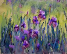 """Painting My World: More from the Paint-out...Purple Irises pastels - Karen Margulis http://kemstudios.blogspot.com/2011/05/more-from-paint-outpurple-irises.html <lovely explanation of """"dancing with the underpainting"""">"""