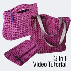 Buy 2 get 3! Crochet Chunky Yarn Video Tutorial & Pattern 3 in 1: Handbag, Clutch Purse and Tote Bag Video Guide