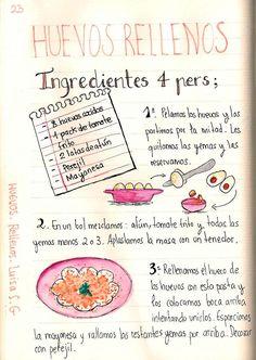 Huevos rellenos by Luisa S. Spanish Tapas, Spanish Food, Love Eat, I Love Food, Comida Diy, Nutrition Guide, Nutrition Plans, Food Journal, Food Illustrations
