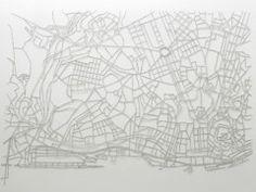 """Rosana Ricalde Cidades invisíveis (Lisboa), 2012, Cut-out sentences from the book """"Cidades Invisíveis!"""" glue on paper, 80 x 100 cm 3+1 Arte Contemporânea"""