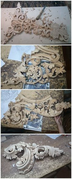 The world's catalog of creative ideas Wood Projects, Woodworking Projects, Chip Carving, Wood Carving Designs, Woodworking Inspiration, Motif Floral, Architectural Elements, Wood Sculpture, Wood Art