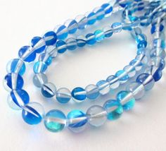 Clear Blue Cobalt Moonstone  Blue Smooth Round Beads by BijiBijoux