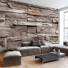 Vliestapete Fototapete Vlies Tapete | Steinmauer Steine Steinwand ... Fototapete Wohnzimmer Braun