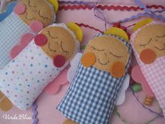 felt and fabric babies - they are actually angels but I would make them without the wings and halos