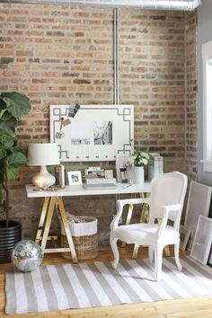 Home Office Inspiration Small Space Office, Home Office Space, Home Office Design, Home Office Decor, Home Decor, Office Ideas, Office Spaces, Cozy Office, Office Designs