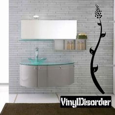 Exoctic Flower Vine Wall Decal - Vinyl Decal - Car Decal - BA044