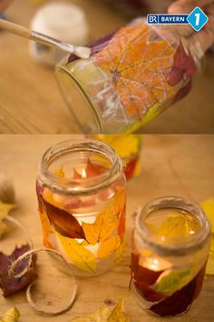 Make autumnal lantern- Herbstliches Windlicht basteln So collected autumn leaves get a second life breathed: lanterns with colorful autumn leaves not only look pretty, they are also great gifts. Autumn Crafts, Fall Crafts For Kids, Diy For Kids, Primitive Fall Decorating, Thanksgiving Diy, Diy Crafts To Do, Crafts For Seniors, Creation Deco, Pumpkin Crafts