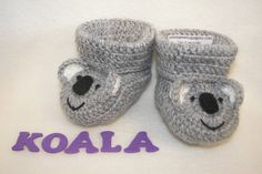 Baby Booties, Koala Bear, NB to 6 Months or 6 to 12 Months Finely Finished Crochet Baby Gift Crochet Baby Bibs, Crochet Baby Booties, Crochet Yarn, Bear Blanket, Baby Feet, Baby Decor, Baby Gifts, Elsa, Crochet Patterns