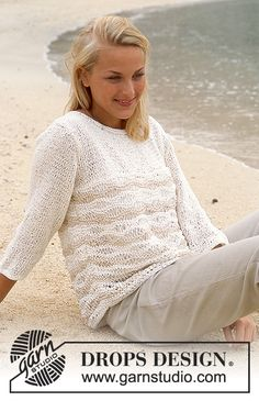 DROPS Pullover in Ribbon  Free pattern by DROPS Design.