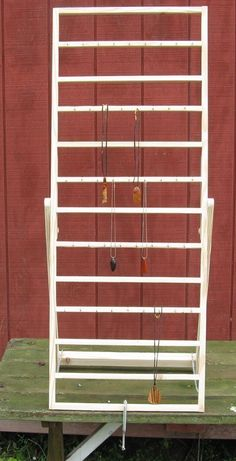 Craft show display ladder by Wudls on Etsy Jewellery Storage, Jewellery Display, Craft Booth Displays, Display Ideas, Booth Ideas, Vintage Booth Display, Stall Display, Craft Booths, Craft Font