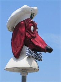 The Doggie Diner head has been preserved and memorialized. Removed from it's last location at the Carousel Restaurant, it now stands on the median strip of Sloat Boulevard at 45th Avenue, across from the San Francisco Zoo.