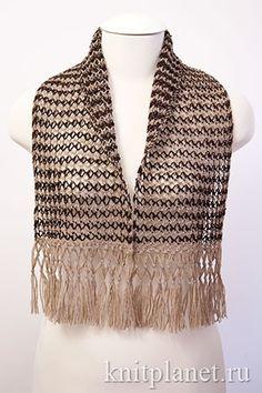 Ажурный шарф с бахромой Спицы Платочное кружево