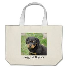 #Doggy McDogface Rottweiler Puppy Large Tote Bag - #rottweiler #puppy #rottweilers #dog #dogs #pet #pets #cute