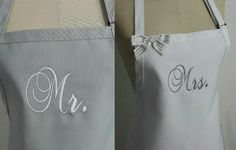 Personalized Mr. and Mrs. Aprons Gift Set - Bride and Grooms Aprons -His and Hers Aprons, Custom Colors Aprons, Silver and White Aprons . by Wheelering on Etsy