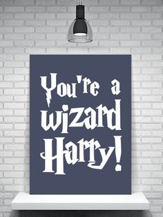 Harry Potter Print Youre A Wizard Harry Typography Print Rubeus Hagrid The Philosophers Stone Childrens Room Boys Harry Potter Canvas, Harry Potter Diy, Rubeus Hagrid, Typography Prints, Movie Quotes, Room Boys, My Images, Hogwarts, Philosophers Stone