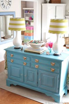 Sometimes, all an old piece of furniture needs is a new paint job. The creative force behind In My Own Style gave this hand-me-down sideboard a special glazed-distressed finish in a lively turquoise hue, using homemade (read: cheap!) chalk paint.  Get the tutorial.