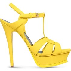 SAINT LAURENT Tribute 105 textured-leather sandals (€730) ❤ liked on Polyvore featuring shoes, sandals, yellow, high heel sandals, yellow sandals, ankle strap shoes, ankle strap high heel sandals and high heel platform sandals