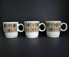Kathie Winkle Mexico Mugs - Vintage Mid Century Set of Three Coffee Cups Rare! - By Broadhurst England