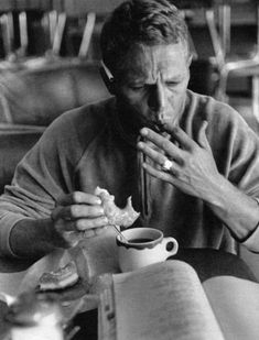 Steve McQueen with coffee & donut [Monterey CA, 1962, photo by William Claxton]