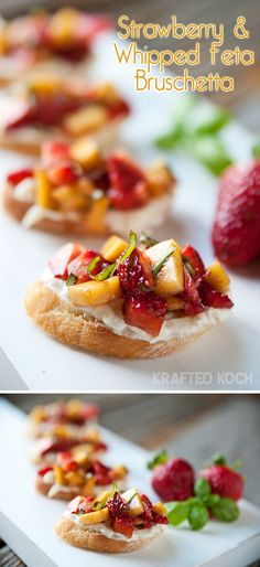 Strawberry & Whipped Feta Bruschetta - sounds like the perfect combo of sweet and savory!