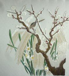 Wintry plum and little bird Japanese embroidery