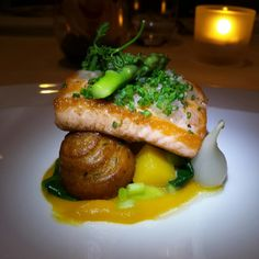 Pan roasted 'Lois Lake' steelhead served with freaking fantastic pomme dauphine and butternut squash at Pear Tree #Burnaby