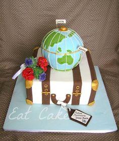 Half Way Round the World - Cake by Eat Cake Pretty Cakes, Beautiful Cakes, Amazing Cakes, Cupcakes, Bon Voyage Cake, Suitcase Cake, Luggage Cake, Travel Cake, Travel Party