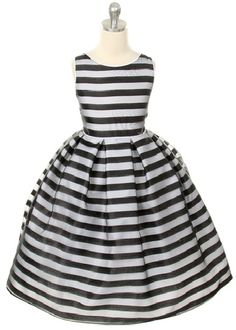 Black and silver striped girls holiday dress