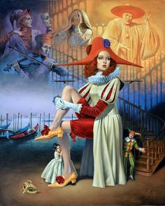 Hide and Seek Art by Michael Cheval Surreal illusion art Fantasy Art whimsical Art Surrealism Painting, Pop Surrealism, Pierrot Clown, Rock Poster, Art Paintings For Sale, Illustration Art, Illustrations, Wassily Kandinsky, Online Painting