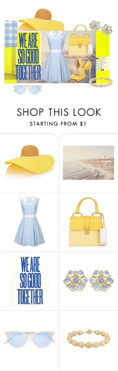 """""""Blue and yellow"""" by chicagofashionlove ❤ liked on Polyvore featuring Eugenia Kim, Miu Miu, Christian Louboutin, Temple St. Clair, Garrett Leight, Blue Nile and Draper James"""