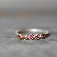 Ruby Sapphire Garnet Ring - 5 Gemstone Ring - 18k Gold and Sterling Silver Pebble Ring - Eco-Friendly Recycled on Etsy, $189.00 ring size 4 I LOVE THIS!