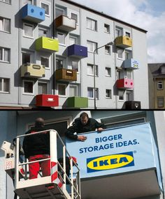 IKEA Balcony  IKEA redesigned the front of a whole apartment building in one of the busiest streets in Frankfurt with giant mock-ups of IKEA drawers.    www.toxel.com
