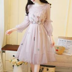 Elegant Spring and Summer Floral Embroidery Dress sold by Ciao Bella . Shop more products from Ciao Bella on Storenvy, the home of independent small businesses all over the world. Flower Dresses, Day Dresses, Pretty Dresses, Casual Dresses, Fashion Dresses, Prom Dresses, Dresses With Sleeves, Flower Skirt, Sleeve Dresses