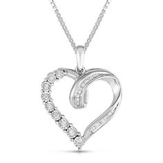 "1/4 CT TW Man Made Diamond Sterling Silver Heart Pendant 18"" Chain Necklace #jewelsbyeanda #HeartPendant #ValentinesDay"