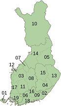 Suomen kunnat 18 UusimaaUusimaa, 06Kanta-HämeTavastia Proper, 09 Kymenlaakso Kymenlaakso,  16 Päijät-Häme Päijänne Tavastia, 02 Etelä-Karjala South Karelia