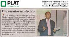 Arellano Marketing / B&Tmeetings: Crecimiento y cambio de planes en Diario Uno de Perú (17/05/15)