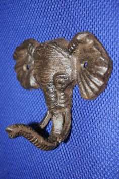 """1)pc, Wild elephant wall hook, Safari home decor, elephant wall decor, African elephant wall decor, cast iron, 5"""" wide,  H-40 by WePeddleMetal on Etsy"""