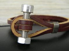 Mens Industrial Brown Leather Bracelet by MarinasSoul on Etsy, $18.00