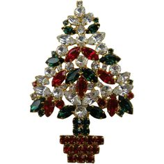 Very Large Signed Christmas Tree Brooch