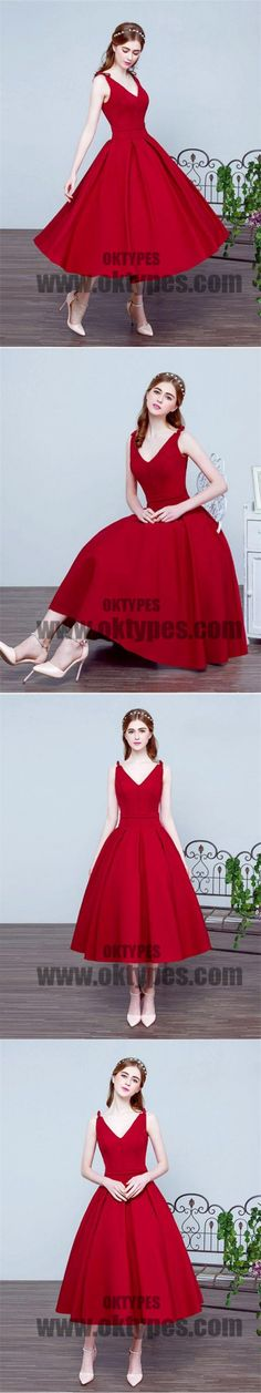 Pleated Red Prom Prom Dresses Beautiful Long V-Neck Sleeveless Lace Up Prom Dresses, TYP0415 #promdresses