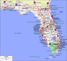 Florida Map With Towns And Cities.Central West Florida Road Map Showing Main Towns Cities And
