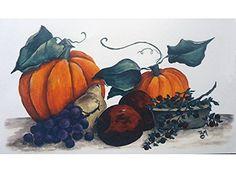 "10883 Autumn Fall Harvest Pumpkin Apple Grapes Waterslide Ceramic Decals By The Sheet (7 1/2"" X 4 1/4"" * 3 pcs)"