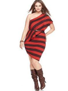 Baby Phat Plus Size Dress, One Shoulder Striped Belted Types Of Dresses, Plus Size Dresses, Plus Size Outfits, Nice Dresses, Dresses Dresses, Mode Plus, Trendy Plus Size Fashion, Curvy Girl Fashion, Women's Fashion