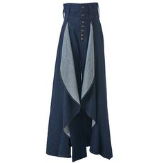 ANNE SOFIE MADSEN - Pleated Denim Wide-Leg Trouser - WESTERN TROUSERS... ($899) ❤ liked on Polyvore featuring pants, blue denim pants, anne sofie madsen, cowboy trousers, cowboy pants and wide-leg pants