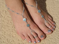 Silver and Turqouise Barefoot Sandals, Slave Anklet, foot jewelry, ankle bracelet with toe ring. $16.00, via Etsy.
