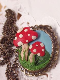 Lovely Polymer Clay Toadstool pendant. Antique Bronze pendant, handmade jewelry, DIY, craft idea #Christmas #thanksgiving #Holiday #quote