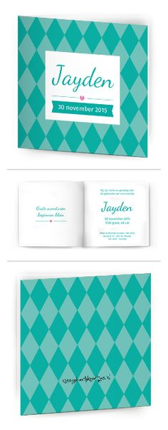 Bekijk de leukste kaartjes op onze site | http://www.kissgeboortekaartjes.nl | #baby #geboortekaartje  #kissgeboortekaartjes #algemeen #jade #ruitjes