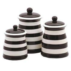 Black & White Striped Ceramic Kitchen Canister Set